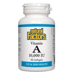 Natural Factors Vitamin A За зрението и нормалното състояние на кожата, костите и зъбите 10000 IU х90 софтгел капсули