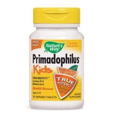 Nature's Way Primadophilus Kids Orange Пробиотик за деца 3 млрд. активни пробиотици портокал х30 дъвчащи таблетки