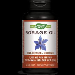 Nature's Way Borage Сold Pressed Oil Масло от Пореч за здрава сърдечно-съдова система и хормонален баланс 1300 мг х60 софтгел капсули
