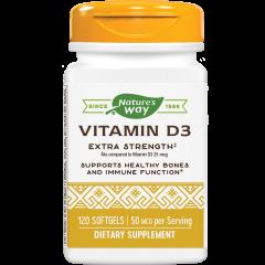 Nature's Way Vitamin D3 Extra Strength Витамин D3 за здрави кости и зъби 2000 IU х120 софтгел капсули