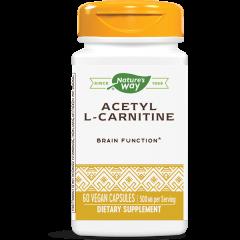 Nature's Way Acetyl L-Carnitine Ацетил L-карнитин за здрава нервна система и подобряване на физическата издръжливост 500 мг х60 V капсули