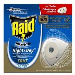 Raid Ден и Нощ Трио двоен пълнител за изпарител против насекоми SC Johnson