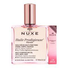 Nuxe Huile Prodigieuse Florale Мултифункционално флорално сухо олио 100 мл + Подарък:  Nuxe Prodigieux Florale Флорален парфюм 1,2 мл Комплект