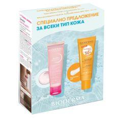 Bioderma Photoderm Max Слънцезащитен аквафлуид SPF50+ 40 мл + Bioderma Sensibio Нежен измиващ гел за чувствителна кожа 45 мл Комплект