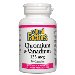 Natural Factors Chromium & Vanadium Хром и Ванадий за здравословен глюкозен метаболизъм 125 мкг х 90 капсули