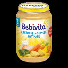 Bebivita пюре картофи, зеленчуци и пуешко без глутен 8М+ 220 гр