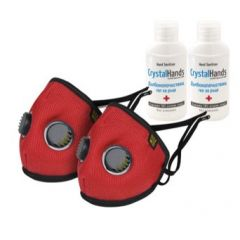 Комплект Eume Protect+ Pro 95 Защитна антибактериална маска с 2 клапана червена 2 бр + CrystalHands Дълбокопочистващ антибактериален гел за ръце 50 мл 2 бр