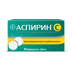 Аспирин C при простудни и грипни симптоми 400 мг / 240 мг х 20 ефервесцентни таблетки Bayer