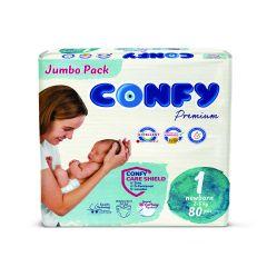 Confy Premium Размер 1 New Born Jumbo Pack 80 бр
