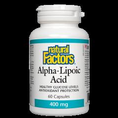 Natural Factors Alpha Lipoic Acid Алфа липоева киселина антиоксидантна защита при диабет 400 мг х 60 капсули