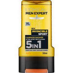 L'Oreal Men Expert Invincible Sport Ревитализиращ душ-гел за тяло и коса за мъже 5в1 300 мл