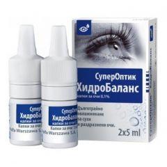 СуперОптик Хидробаланс Капки за очи 5 мл 2 бр Polpharma
