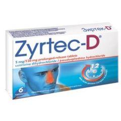 Zyrtec-D при алергии 5 мг/120 мг 6 таблетки UCB Farchim