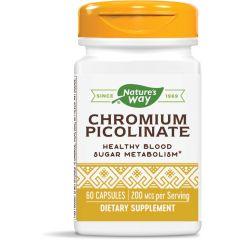 Nature's Way Cromium Picolinate Хром за нормална концентрация на кръвната захар 200 мкг х60 капсули