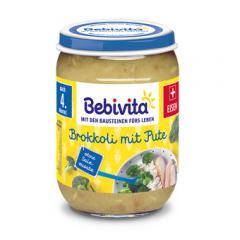 Bebivita пюре броколи и пуешко без глутен 4М+ 190 гр