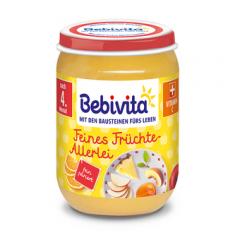 Bebivita пюре от различни плодове без глутен 4М+ 190 гр