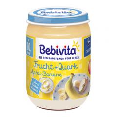 Bebivita пюре плодов дует ябълка и банан с извара без глутен 10М+ 190 гр