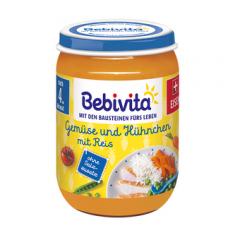 Bebivita пюре ориз и зеленчуци с пилешко без глутен 4М+ 190 гр