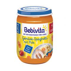 Bebivita пюре спагети със зеленчуци и пуешко без глутен 4М+ 190 гр