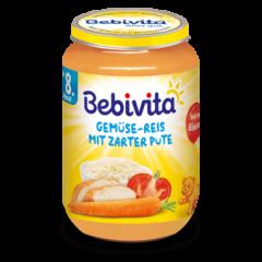 Bebivita пюре зеленчуково ризото с пуешко без глутен 8М+ 220 гр