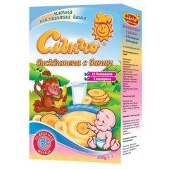 Слънчо Млечна каша бисквитена с банан 11 витамина 6М+ 200 гр