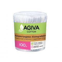 Agiva Cotton Биоразградими Клечки за уши кутия х100 бр