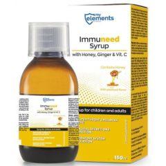 Immuneed Syrup with Honey Ginger and Vit C Сироп за кашлица и възпалено гърло с вкус на мед и джинджифил 150 мл My Elements