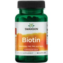 Swanson Biotin Биотин за косата, кожата и ноктите 30 капсули