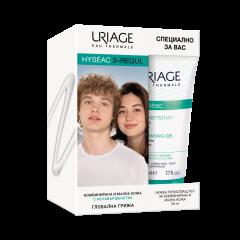 UriageHyséac3-Regul Крем за нормална към комбинирана кожа 40 мл + Uriage Hyseac Почистващ гел за лице и тяло за комбинирана до мазна кожа 50 мл Комплект
