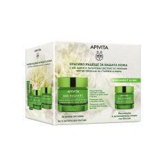 Apivita Bee Radiant Озаряващ гел-крем за лице за всеки тип кожа с лека текстура 50 мл + Подарък:  Apivita Bee Radiant Изглаждащ и детоксикиращ нощен гел-балсам 15 мл Комплект