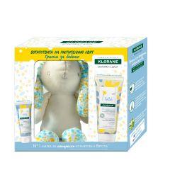 Klorane Bebe Нежен почистващ гел за коса и тяло 200 мл + Klorane Bebe Хидратиращ крем с витамини за лице и тяло 40 мл + Подарък: Зайче Комплект