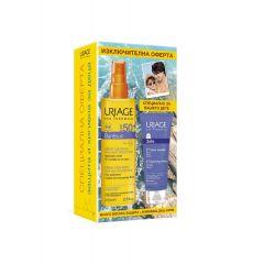 Uriage Bariesun Слънцезащитен спрей за деца за лице и тяло SPF50+ 200 мл + Uriage Bebe 1er Нежен пенлив душ-крем за бебета и деца за лице, тяло и коса 200 мл Комплект