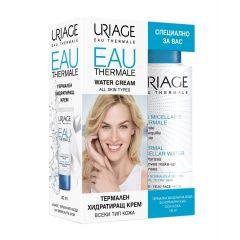 Uriage Eau Thermale Термален хидратиращ крем за всеки тип кожа 40 мл + Uriage Eau Thermale Почистваща мицеларна вода за лице за нормална и суха кожа 100 мл Комплект