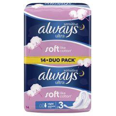 Always Sensitive Ultra Night Duo Дамски нощни превръзки x14 бр