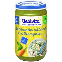 Bebivita пюре макарони със спанак, зеленчуци и сметана 12М+ 250 гр