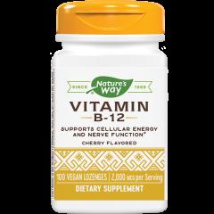 Nature's Way Vitamin B12 Цианкобаламин за здрава сърдечно-съдова и нервна система 2000 мкг х100 V таблетки за смучене