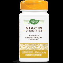 Nature's Way Niacin Витамин B3 при високи нива на холестерола и триглицеридите 100 мг х100 капсули