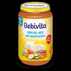 Bebivita пюре зеленчуци, ориз и телешко без глутен 12М+ 250 гр