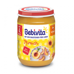 Bebivita пюре праскови без глутен 4М+ 190 гр
