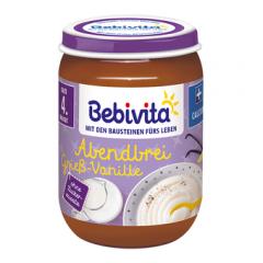 """Bebivita млечна каша """"Лека нощ"""" грис с ванилия 4М+ 190 гр"""