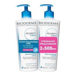 Bioderma Atoderm Успокояващ хидратиращ крем за лице и тяло 2 х 500 мл Комплект