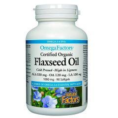 Natural Factors Flaxseed Oil Ленено масло за нормално кръвно налягане и нисък холестерол 1000 мг х 90 софтгел капсули