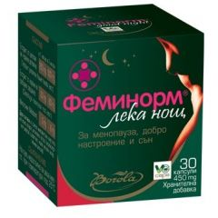 Borola Feminorm Good Night Феминорм Лек нощ за менопауза и добър сън 450 мг х30 капсули