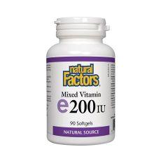 Natural Factors Mixed Vitamin E 200 IU Токофероли микс - естествена форма на витамин Е 100 мг х 90 капсули