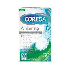 Corega Whitening Избелващи таблетки за почистване на протези x30 бр