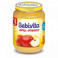 Bebivita пюре ябълка и праскова без глутен 4М+ 190 гр