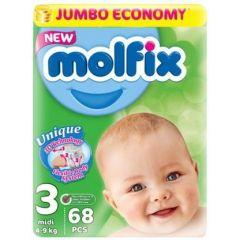 Molfix Jumbo Бебешки пелени №3 Midi 4-9 кг х68 бр