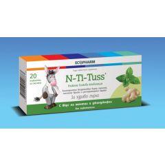 N-Ti-Tuss При възпалено гърло С вкус на ментол и джинджифил х20 таблетки за смучене Ecopharm