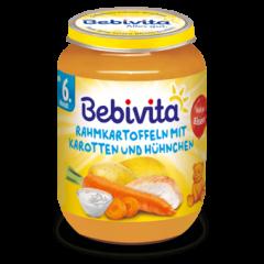 Bebivita пюре картофи с моркови и пилешко без глутен 6М+ 190 гр