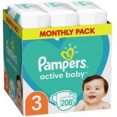 Пелени Pampers Active Baby Размер 3 S 208 бр Procter & Gamble